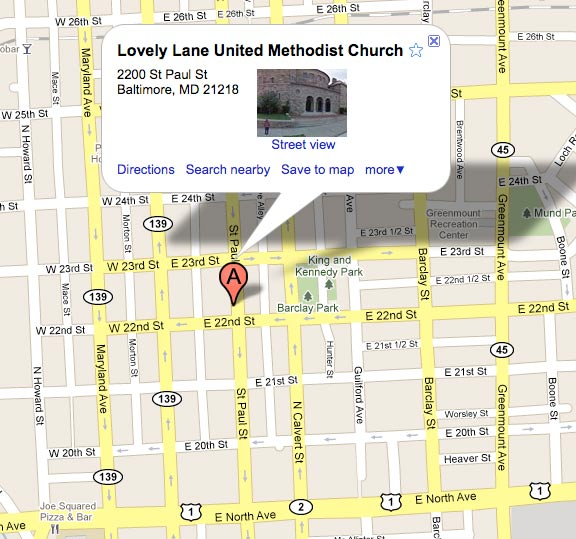 Google Map to Lovely Lane United Methodist Church